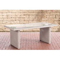 CLP Gartentisch Fontana 180 x 90 cm, mit einer Tischplatte aus Glas weiß
