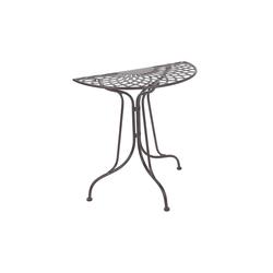 BUTLERS Gartentisch MANDALA GARDEN Tisch halbrund, halbrunder Tisch in Dunkelbraun - Balkontisch aus Eisen - wetterfest und unempfindlich