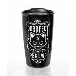 Horror-Shop Geschirr-Set Purrfect Brew Gothic Reise-Kaffeebecher für unterw, Kunststoff / Edelstahl
