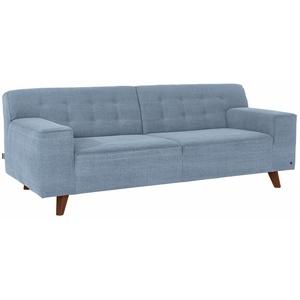 TOM TAILOR 2-Sitzer NORDIC CHIC, im Retrolook, Füße nussbaumfarben blau