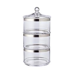 EDZARD Vorratsglas Vigo, Kristallglas, Bonboniere mit Platinrand, Bonbonglas mit Deckel, Glasdose zur Aufbewahrung, Home Deko als Geschenk, Ø 19,5 cm