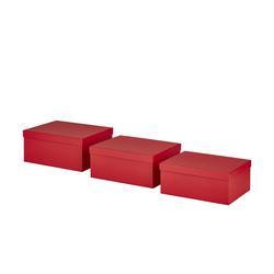 Aufbewahrungsboxen, 3er-Set ¦ rot ¦ Pappe, Papier ¦ Maße (cm): B: 30 H: 27,5