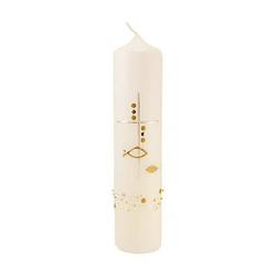 Kerze Kreuz-Fische-Perlen