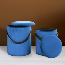 Samt Hocker Set in Blau Truhe (2-teilig)