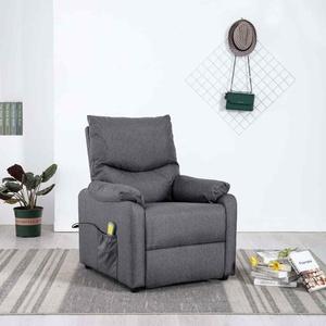 vidaXL Massagesessel Dunkelgrau Stoff Heizung Relaxsessel Fernsehsessel Sessel