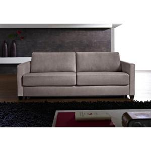 Places of Style Schlafsofa Norwalk, Dauerschlaffunktion, mit Unterfederung / Lattenrost und Matratze grau