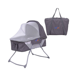 COSTWAY Baby-Reisebett Stubenwagen Babybett, inkl. Moskitonetz&Matratze&Tasche Grau grau