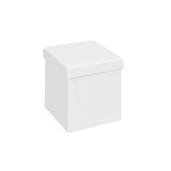 ebuy24 Aufbewahrungsbox Sanne Aufbewahrungsbox Hocker, faltbar mit Deckel, wei� 38 cm x 38 cm x 38 cm