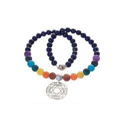 Bella Carina Perlenkette Mandala, mit Silber Anhänger Mandala 45 cm