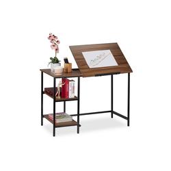 relaxdays Schreibtisch Schreibtisch neigbar mit 3 Ablagen