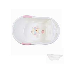 Moni Babywanne Babybadewanne Lilly, Wasserablauf, Ablagefächer für Zubehör, platzsparend rosa
