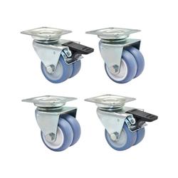WAGNER design yourself Doppelrolle Strandkorbrollen 4tlg. Set / Doppelrollen / Möbelrollen - ULTRASOFT - Durchmesser Ø 50 mm, 2 mit und 2 ohne Feststeller, Tragkraft 300 kg / Set weiß