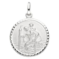 JOBO Runder Anhänger Schutzpatron Christopherus, rund 925 Silber