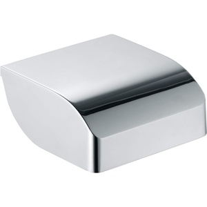 KEUCO Toilettenpapierhalter aus Metall, hochglanz-verchromt, mit Deckel, WC-Rollenhalter für Badezimmer und Gäste-WC, Elegance