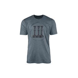 Sinus Art T-Shirt Vintage Herren T-Shirt Kerzenständer blau L