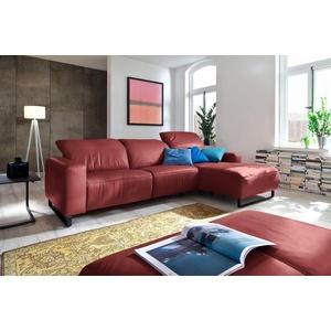 Premium collection by Home affaire Ecksofa Juist, mit Kopfteilverstellung und schwarzen Metallkufen; wahlweise mit motorischer Relaxfunktion rot