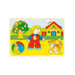 goki Steckpuzzle Holzpuzzle Katze, Haus, Puzzleteile