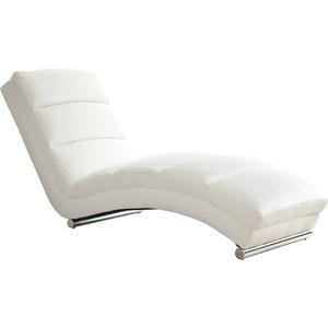 SalesFever Relaxliege weiß Kunstleder geschwungene Liegefläche, mit verchromtes Füßen
