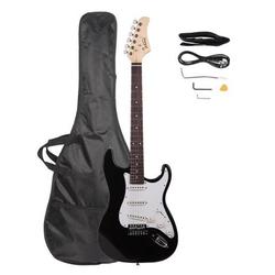 Vaxiuja E-Gitarre GST Single-Single-Single Pickup, Linden-Palisander-Griffbrett, ST-E-Gitarre, schwarz-weiße Schutzplatte