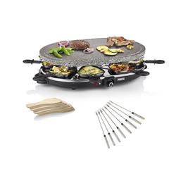 PRINCESS Raclette, 8 Raclettepfännchen, 1200 W, Modernes Raclette Gerät für 2-8 Personen, ovaler Tischgrill mit Steinplatte 1200 Watt, Steingrill, Raclet