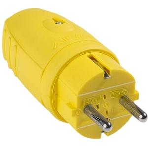 as - Schwabe Gummi-Stecker 230 V / 16 A ohne Kabel – Schuko-Stecker mit doppeltem Schutzkontakt – Schutzkontakt-Stecker auch für Außenbereich geeignet – IP44 – Made in Germany – gelb I 62403