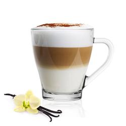 Sendez Gläser-Set 6 Cappuccino Kaffeegläser Teegläser 250 ml Henkel und 6 Edelstahl-Löffel GRATIS (12-tlg), Glas