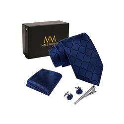 Massi Morino Krawatte Krawattenbox Set blau