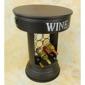 Weinhalter MiniBar Hausbar Bistrotisch Industrie Lool Weinregal Tisch MU305-a