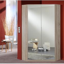 2-trg. Eck-Spiegelschrank in Eiche sägerau-Nachbildung, 2 Spiegeltüren, Maße: B/H/T ca. 95/198/95 Aufstellmaß: ca. 120 x 120 cm