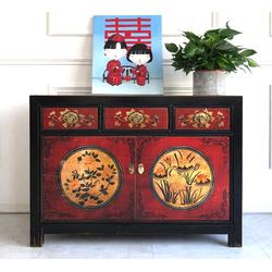 OPIUM OUTLET Konsole Chinesisches Sideboard shabby-chic, Chinesische Kommode, asiatisches Sideboard, orientalische Anrichte, Vintage-Stil, authentische Motive, Shabby-Chic, Breite 117 cm, Höhe 85 cm