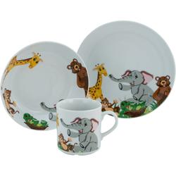CreaTable Kindergeschirr-Set Zoo (3-tlg), Porzellan, Dekor mit lustigen Zoobewohnern