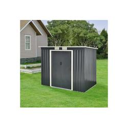 en.casa Gartenhaus, BxT: 213x130 cm, Gartenschuppen mit Pultdach Gerätehaus inkl. Fundament Metall 213x130x173cm Dunkelgrau