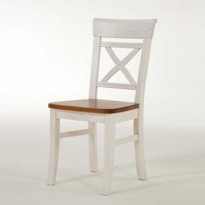 Esszimmerstuhl aus Kiefer Massivholz Weiß-Braun (2er Set)