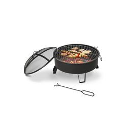 Outsunny Holzkohlegrill 2-in-1 Feuerschale mit Grillrost schwarz