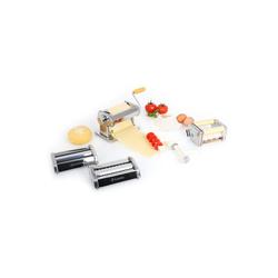Klarstein Nudelmaschine Siena Argentea Pasta Maker Nudelmaschine 3 Aufsätze Edelstahl silber silberfarben