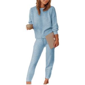 Damen Fleece Freizeitanzug Zweiteiler Hosenanzug Casual Hausanzug Lässige Änzuge Bekleidung Set Pullover + Lange Hosen M Xbao