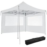 Tectake Faltpavillon 3,00 x 3,00 m inkl. 2 Seitenteile weiß