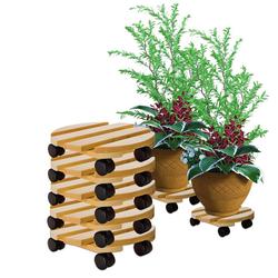 BigDean Blumentopfuntersetzer Pflanzenroller rund Buchenholz massives Holz 30 cm bis 120 Kg Rolluntersetzer, 5-tlg.