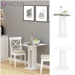 VICCO Esstisch EWERT Küchentisch Esszimmer Tisch Säulentisch weiß 65x65 cm