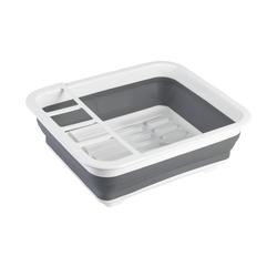 Geschirrabtropfständer faltbar Grau/Weiß ¦ grau ¦ Kunststoff