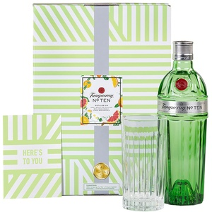 Tanqueray No. Ten Gin 700ml im hochwertigen Geschenkset mit Ginglas & Grußkarte