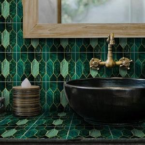 Fliesenaufkleber für Boden/Wand, für Heimdekoration, zum Abziehen und Aufkleben, Fliesenaufkleber für Küche, Badezimmer, Dekoration, 20 x 20 cm x 10 Stück, grüne Vergoldung, Mosaikfliesenaufkleber