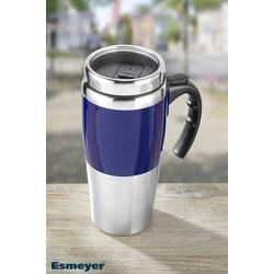 Coffee-to-go-Becher STREAK, blau, 450 ml, aus doppelwandigem Edelstahl,