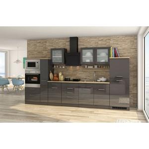 Einbauküche mit Elektrogeräten Küchenzeile hochglanz grau Küchenblock 360 cm