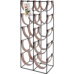 Weinregal aus Metall und Leder für 10 Flaschen - Design Flaschenregal 24x16x60cm