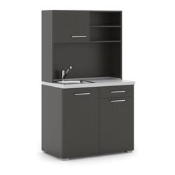 Büroküche primo, spülbecken, mischbatterie, 1/2 tür, wenge