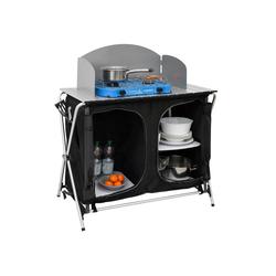AMANKA Stoffschrank Camping-Küche + Windschutz Campingschrank faltbar 90x48x115cm 3 Fächer Camping