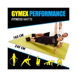 GYMEX Yogamatte GYMEX Fitness-Matte, XXL extra groß, rollbar, für Yoga, Sport & Fitness grau 160 cm x 240 cm x 0,5 cm