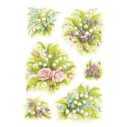 Schmucketiketten Decor Blumensträuße Maiglöckchen VE=3 Blatt