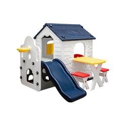 LittleTom Rutsche Kinder Spielhaus mit Rutsche Kinderhaus ab 1 Jahr, Spielhaus + Tisch + 2 Hocker